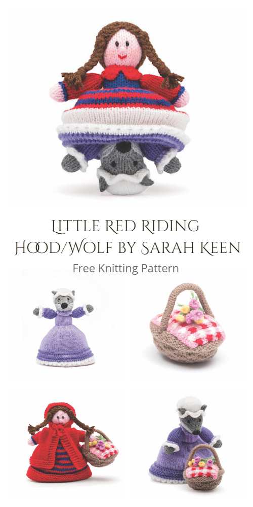 Knit Topsy-Turvy Doll Red Riding Hood & Wolf Free Knitting Patterns