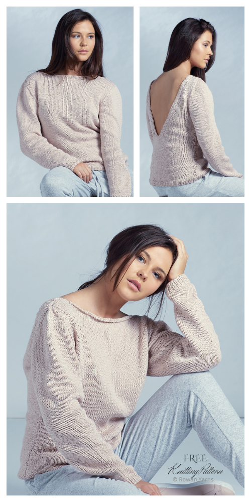 Knit V Back Top Jumper Sweater Free Knitting Patterns
