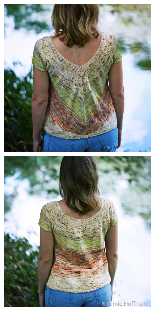 Knit Summer V Back Top Knitting Patterns