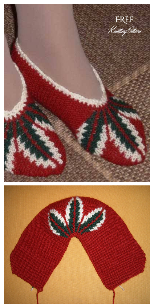Adult One Piece Leaf -Patterned Slippers Free Knitting Patterns