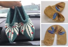 Adult One Piece Leaf Slippers Free Knitting Patterns
