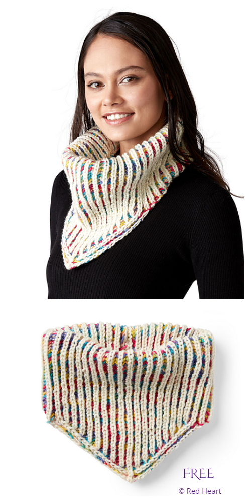 Double Sided Brioche Kerchief Cowl Free Knitting Pattern
