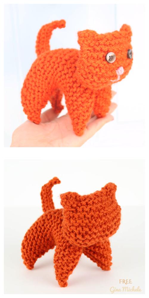 Flat Knit Kitty Toy Free Knitting Pattern