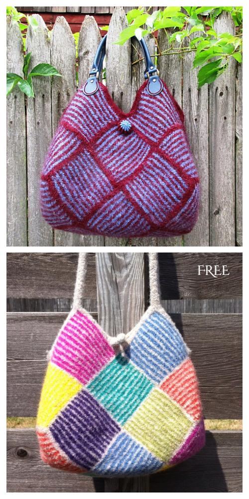 Garter Stripe Square Bag Free Knitting Pattern