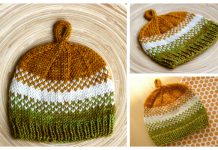 Golden Pear Baby Beanie Hat Free Knitting Pattern