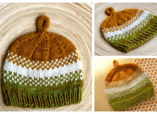 Golden Pear Baby Beanie Hat Free Knitting Pattern