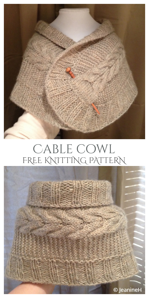 Knit Flower Cable Scarf Cowl Free Knitting Patterns