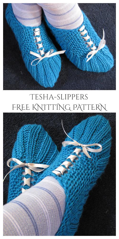 Knit Tesha Pocket Slippers Free Knitting Patterns