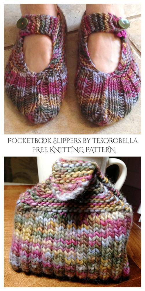 Knit Pocket Book Slippers Free Knitting Patterns
