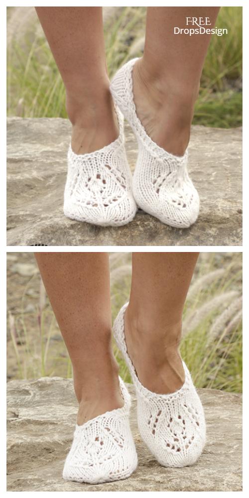 Women Lace Slippers Free Knitting Patterns