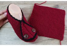 One Piece Rectangle Slippers Free Knitting Pattern + Video