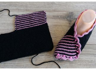 Knit One Piece Slippers Free Knitting Pattern + Video