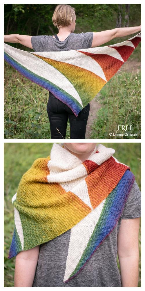 Bowie Rainbow Shawl Free Knitting Pattern