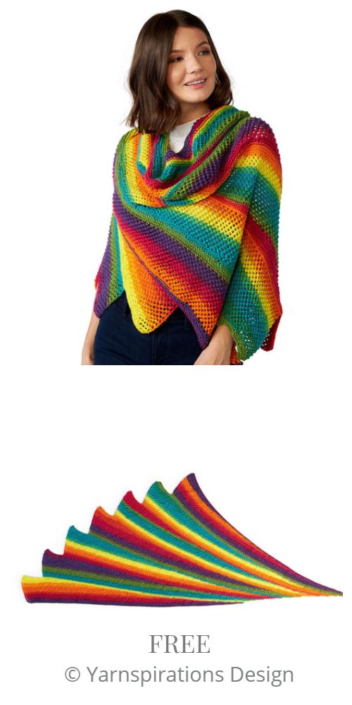 Carbon Rainbow Shawl Free Knitting Pattern