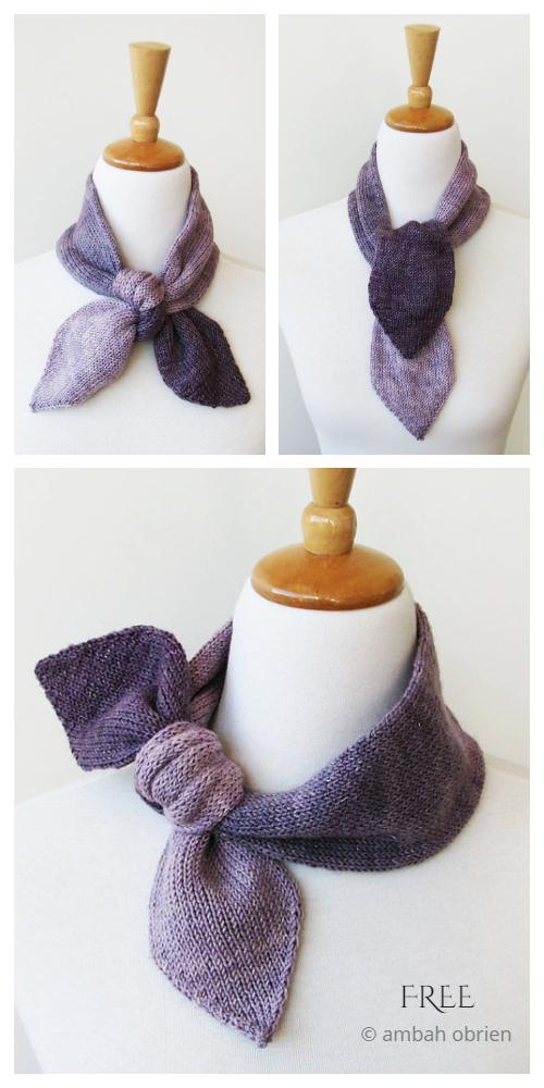 Sweet Tie Scarfette Free Knitting Pattern