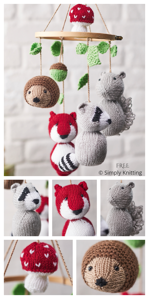 Amigurumi Woodland Animal Mobile Free Knitting Pattern