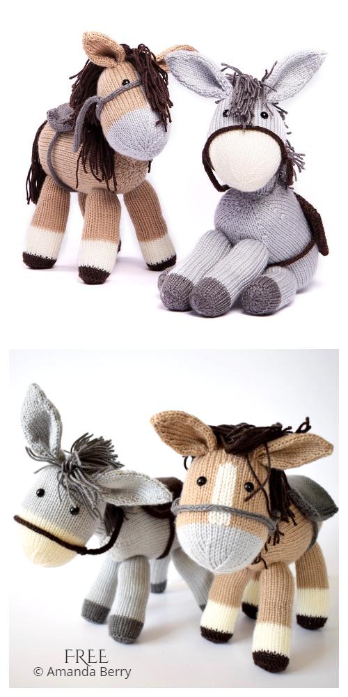 Amimgurumi Dolly Donkey & Bramble Horse Free Knitting Pattern
