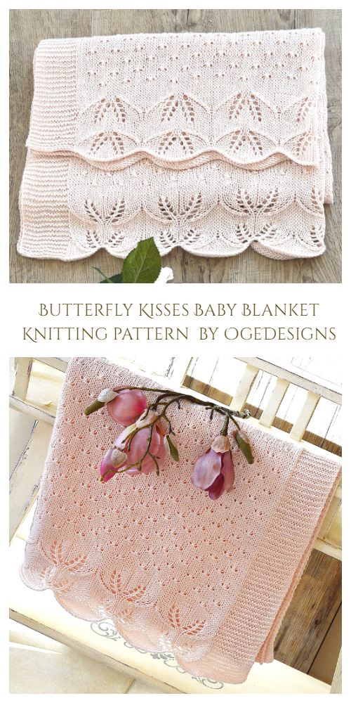 Butterfly Kisses Baby Blanket Knitting Pattern