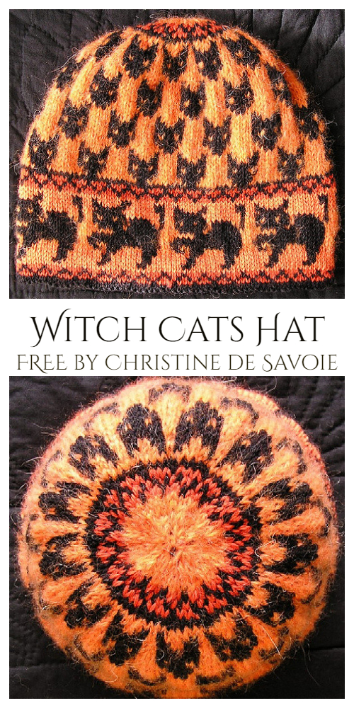 Witch Cats Hat Free Knitting Patterns