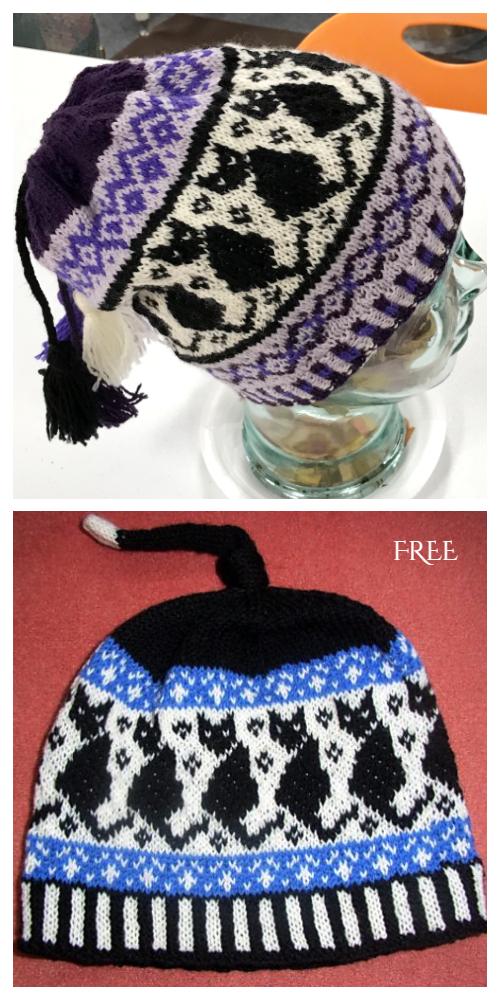 Black Cats Halloween Hat Free Knitting Patterns