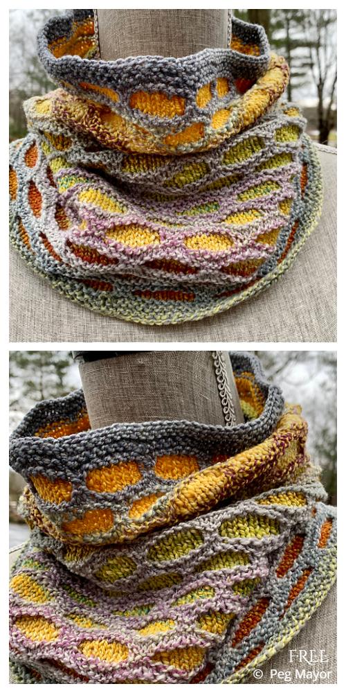 Lozenge Honeycomb Cowl Free Knitting Patterns