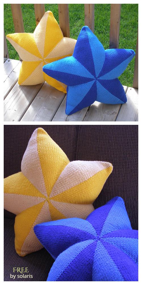 Knit Star Pillow Free Knitting Pattern