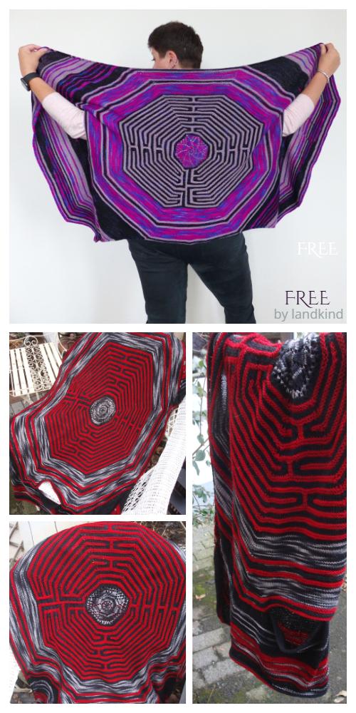 Labyrinth Rectangle Shawl Free Knitting Pattern