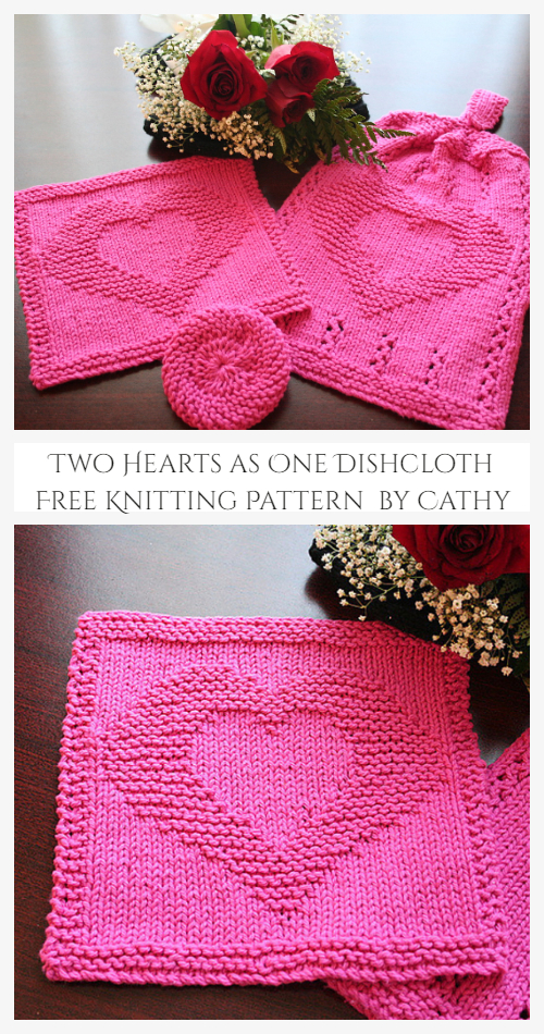 Two Hearts as One Dishcloth Free Knitting Pattern