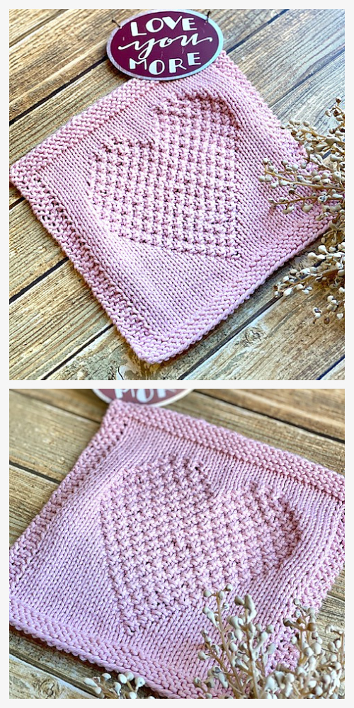 I Heart You Dishcloth  Free Knitting Pattern