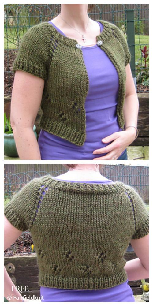 Anthropologie-Inspired Capelet Bolero Cardi Free Knitting Patterns