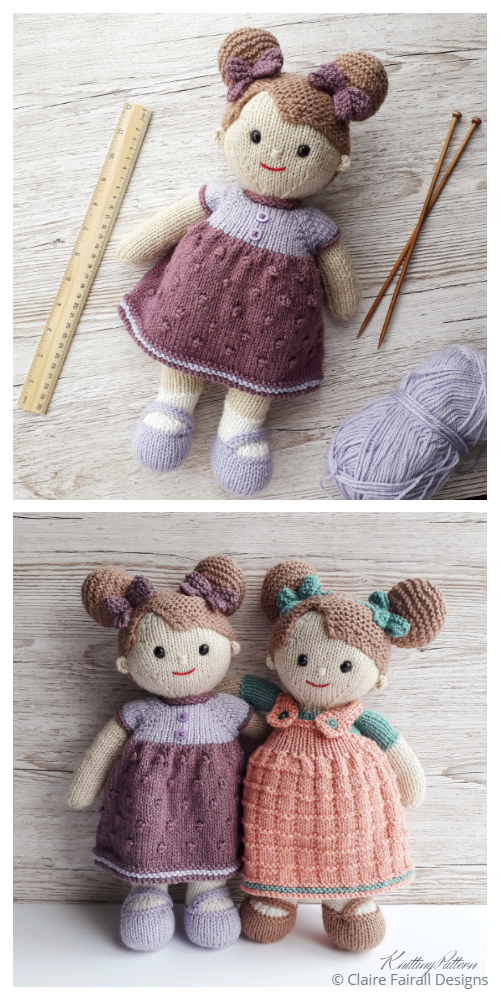 Amigurumi Lilly and May Dolls Knitting Patterns