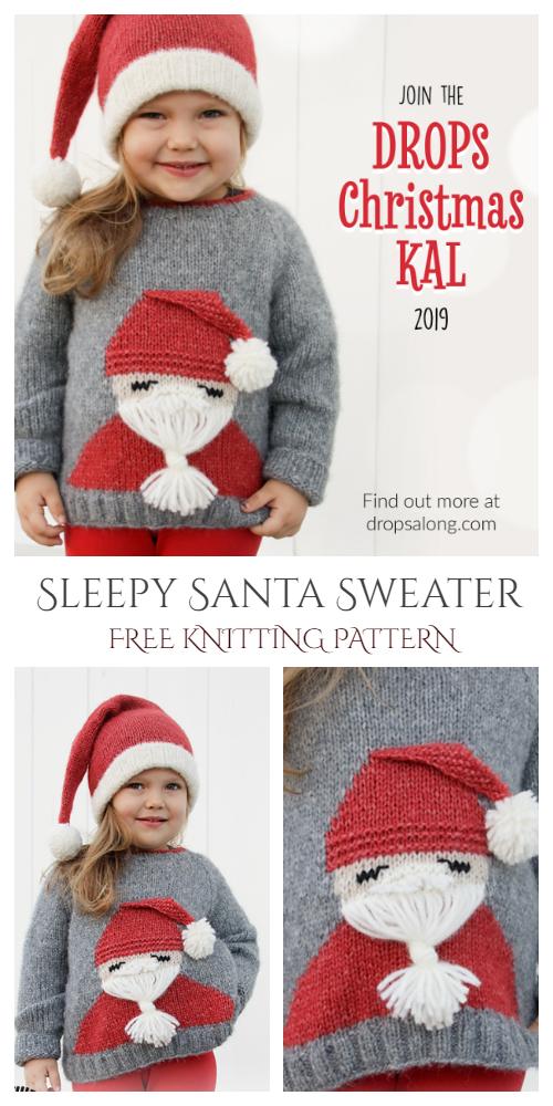 Christmas Santa Sweater Free Knitting Patterns