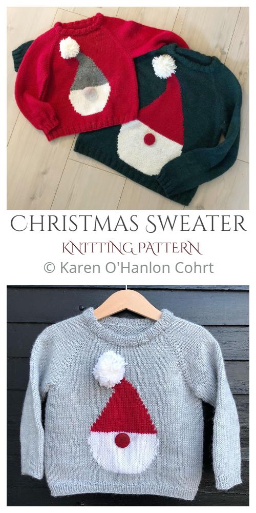 Christmas Santa Sweater Knitting Patterns
