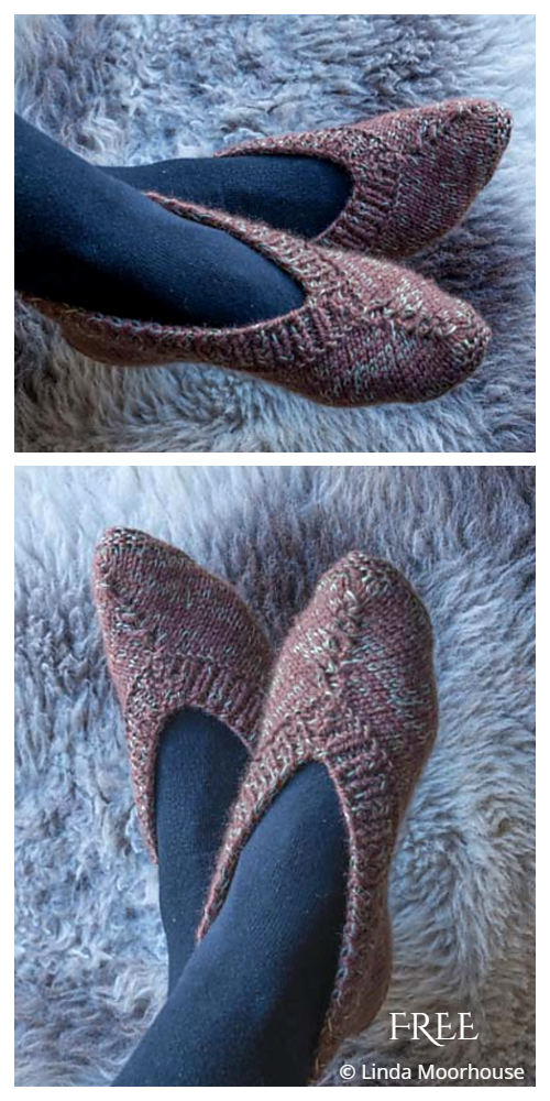 One Piece Ladies Slippers Free Knitting Patterns