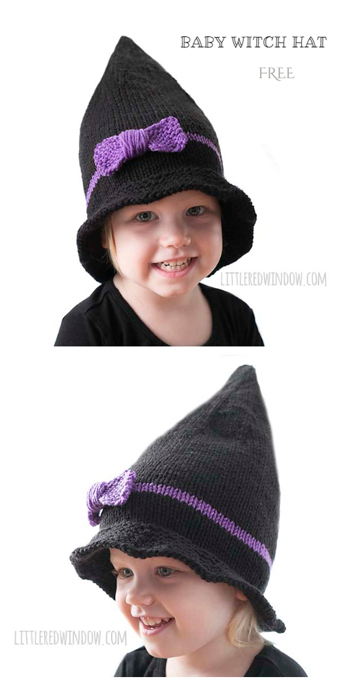 Halloween baby Witch Hat Free Knitting Patterns