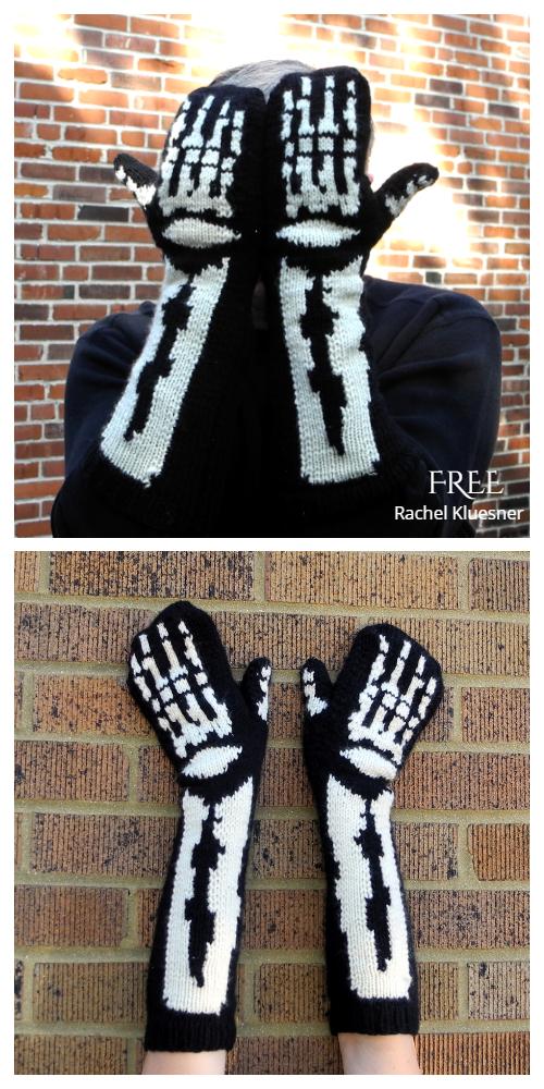 Halloween Skeleton Mittens Free Knitting Patterns
