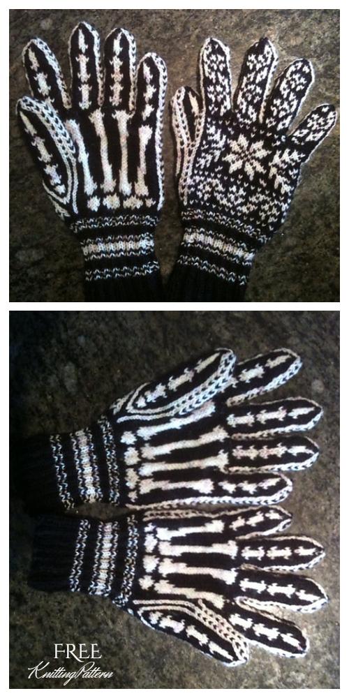 Halloween Skeleton Gloves Free Knitting Patterns