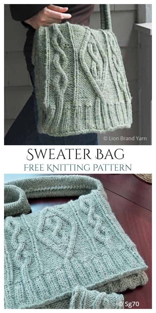 Knit Cable Sweater Bag Free Knitting Patterns