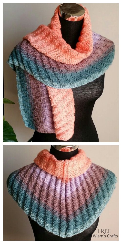 Knit Ribbed Shawlette Free Knitting Pattern