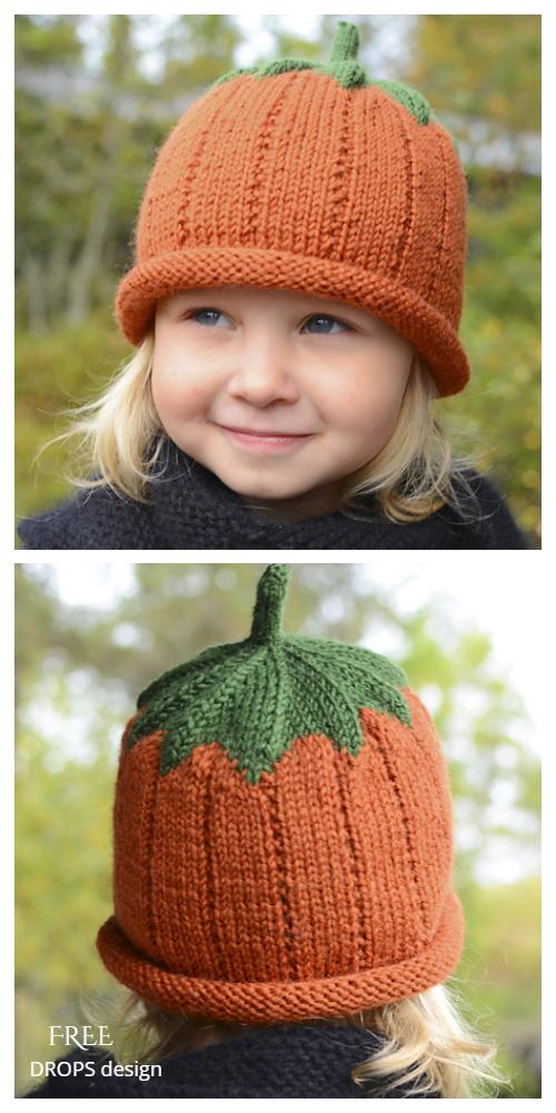 Sweet Pumpkin Hat Free Knitting Patterns