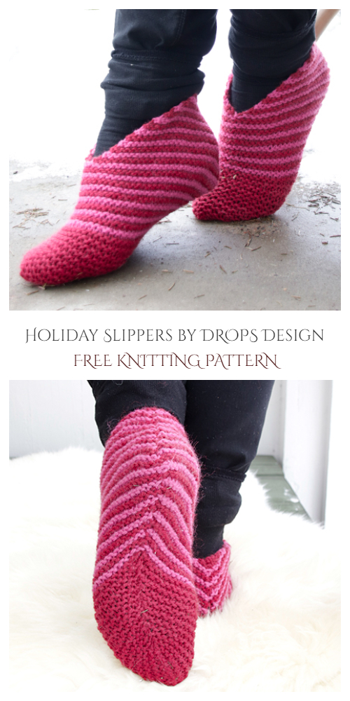 Christmas Step into the Holidays Slippers Free Knitting Patterns