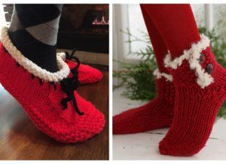 Christmas Slippers Free Knitting Patterns