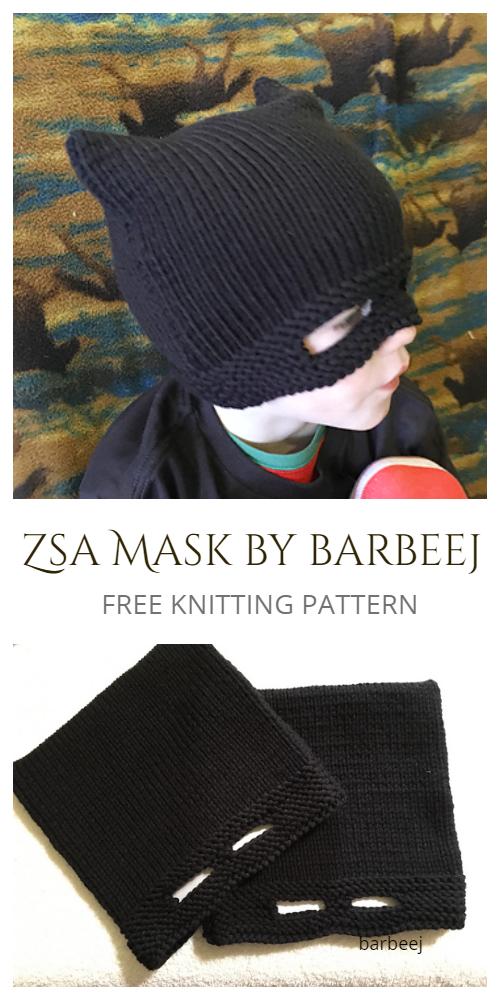 Zsa Mask Hat Combo Free Knitting Patterns
