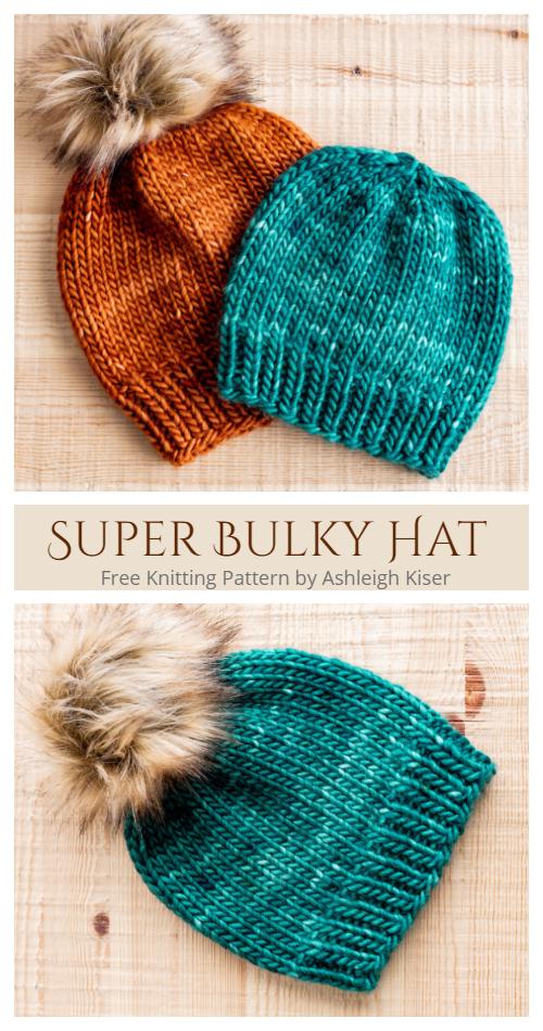 Super Bulky Hat Free Knitting Pattern