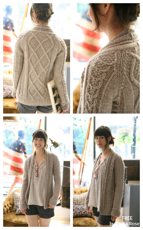 Aidez Cable Sweater Cardigan Free Knitting Patterns