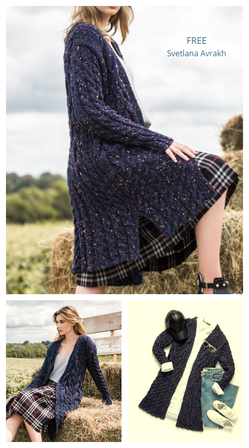Winding Ropes Cabled Cardigan Free Knitting Patterns