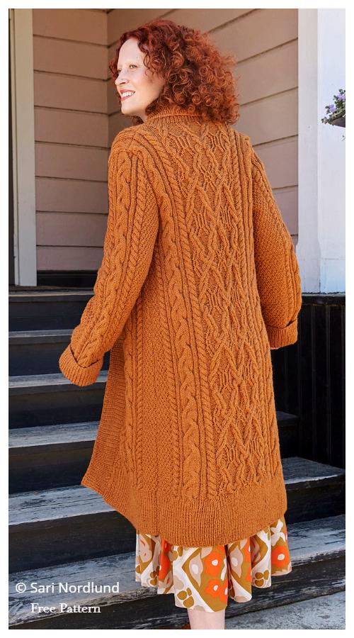 Women Juurakko Cable Sweater Cardigan Free Knitting Patterns