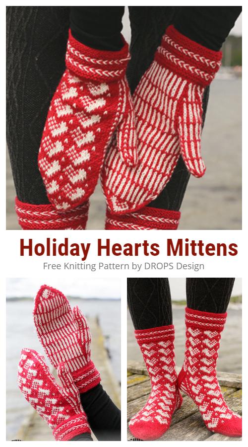 Noel Tatili Kalpler Eldivenler Ücretsiz Örgü Desenleri