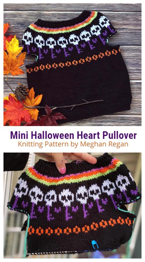 Mini Halloween Heart Pullover Triko Örgü Desenleri
