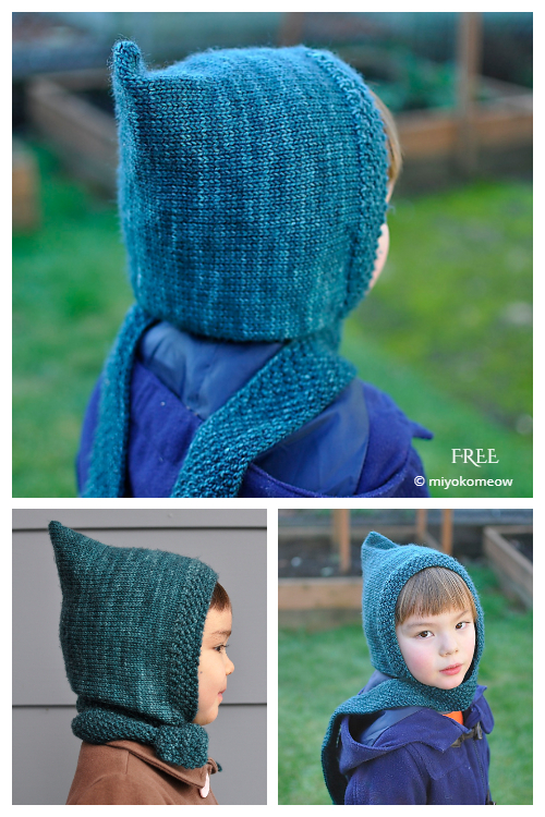 Pixie Hooded Scarf Hat Free Knitting Patterns